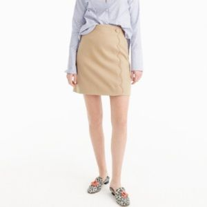 J Crew Scallop Skirts (neutral & marine green)